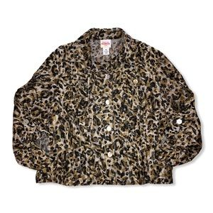 RUBY RD Animal Print Button Up Petite 10